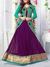 Embroidered Teal And Purple Georgette Jacket Suit Set - Crazy