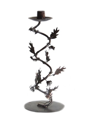 Decor Mart - Candle Holder - Iron - 1 Candle - Brown Rust 12 X 4 inch