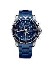 Victorinox Men's 241690 Maverick Chronograph Stainless Steel Watch with Blue Rubber Band -  online shopping for Analog Watches