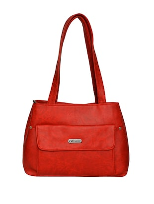 red leatherette handbag