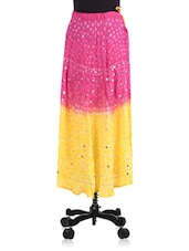 Pink And Yellow Tie And Dye Cotton Skirt - By
