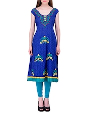 Blue Cotton Embroidered Kurta - By