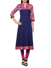 Navy Blue And Pink Printed Rayon Anarkali Kurta - By