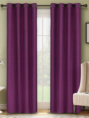 100% Cotton Solid Purple Eyelet Curtain
