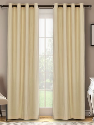 100% Cotton Solid Cream Eyelet Curtain