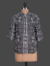 Quarter Sleeves Printed Georgette Top - London Off