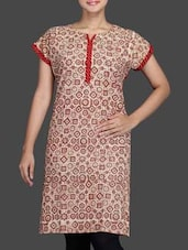 Brown Printed Cotton Kurta - By