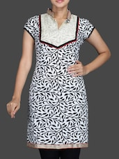 White Printed Collared Cotton Kurta - Sutee