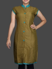 Green Short Sleeves Cotton Kurta - Sutee