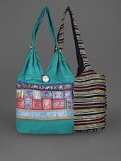 Multicolored Cotton Striped Combo Bag - By