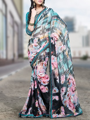 Multi floral printed georgette saree