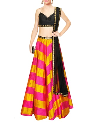 pink and yellow banglori silk lehenga