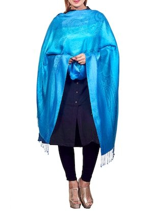 light blue pure silk shawl