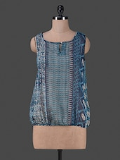 Blue Printed Poly Chiffon Sleeveless Top - Vastrasutra- Exclusive