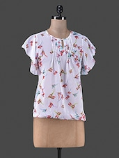 White Bird Printed Polyester Top - Vastrasutra- Exclusive