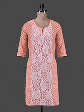 Pink Trimmed Lace Printed Cotton Kurti - Vastrasutra- The Art Of Dressing Up