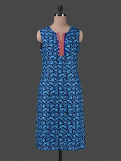 Blue Mirror Worked Printed Polyester Sleeveless Kurti - Vastrasutra- Exclusive
