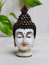 Black Polyresin Buddha Head Statue - ECraftIndia