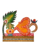 Multicolour Paper-Mache Wooden Om And Krishna Key Holder - By