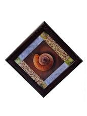 Multicolour Shell Design Synthetic Wood Framed UV Art Print - ECraftIndia