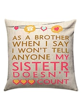 Beige Cotton Printed Cushion For Sister - Gifts By Meeta