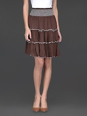 Brown Flared Skirt Cum Tube Top - Klick2Style