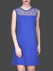 Royal Blue Sleeveless Dress With Sheer Yoke - Klick2Style