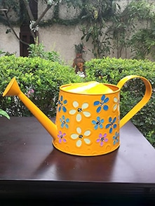 Flower Painted Yellow Metal Watering Can