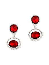 Red Stone Embellished Earrings - MoedBuille