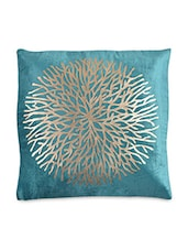 Sea Green Velvet Printed Cushion Cover - By