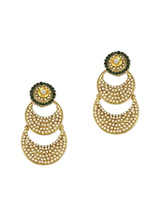Bead Embellished Gold Tiered Dangler Earrings