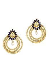 Stone And Bead Studded Gold Chandbali Earrings - ZAVERI PEARLS