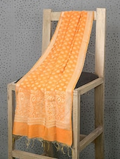 Orange Booti Print Cotton And Art Silk Dupatta - Prabha Creations