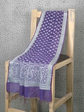 Blue Booti Print Cotton And Art Silk Dupatta - Prabha Creations