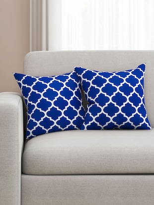 Cotton  Geometric HD Digital Premium 16 by 16 cushion covers (Set of 2)