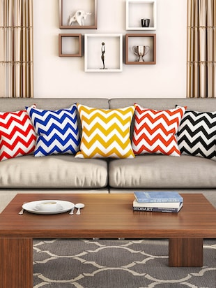 multi colored cotton set of 5 cushion covers