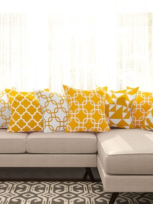 yellow cotton set of 8 cushion covers