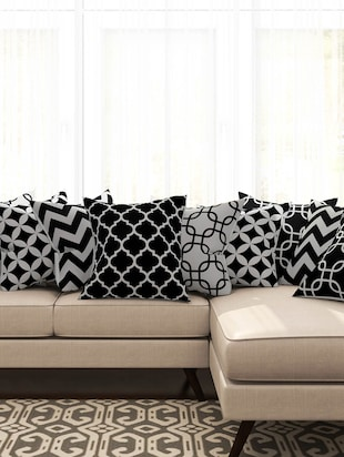 black cotton set of 10 cushion covers