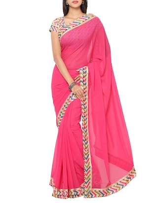 pink georgette bordered saree