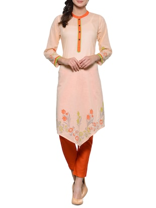 peach cotton kurta