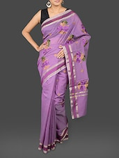 Purple Floral Embroidered Saree - By