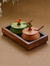 Multi-coloured Wooden 2 Jar Set With Base Tray And Spoon - Unravel India