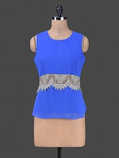Round Neck Sleeveless Lace Touch Blue Top - Bumpkin