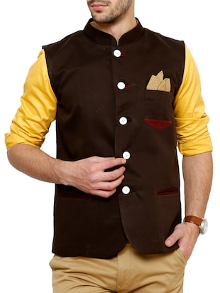solid brown cotton nehru jacket