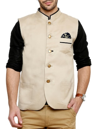 solid beige cotton nehru jacket