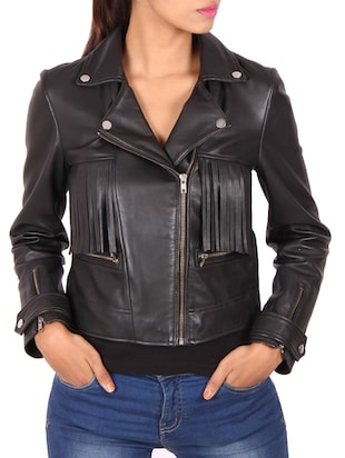 black fringed leather jacket