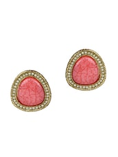 Gold And Pink Metallic Embellished Oversized Earrings - Golden Petals