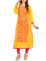 yellow cotton printed kurta -  online shopping for kurtas