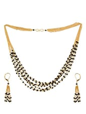 Gold And Black Multi-layered Necklace And Earrings Set - Golden Petals