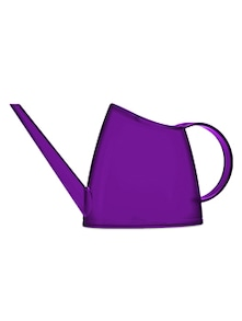 Bright purple plastic watering can